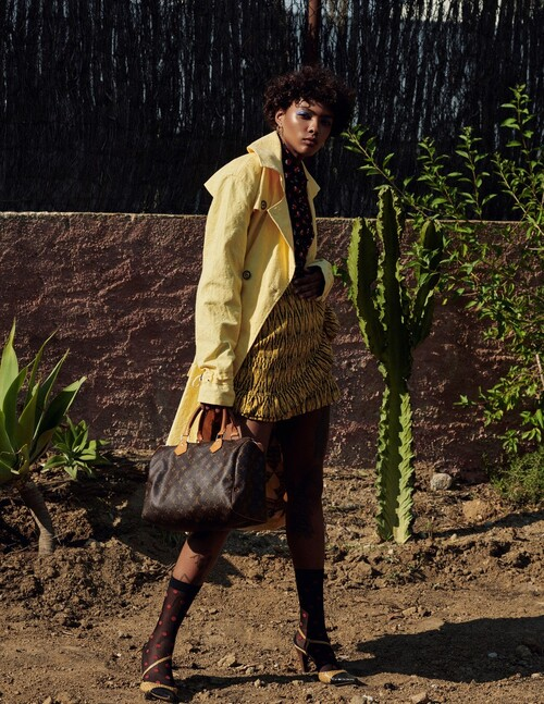 "WeDú yellow trench coat in ""On my way to Malawi"" fashion editorial for Marie Claire Argentina @marieclairearg"
