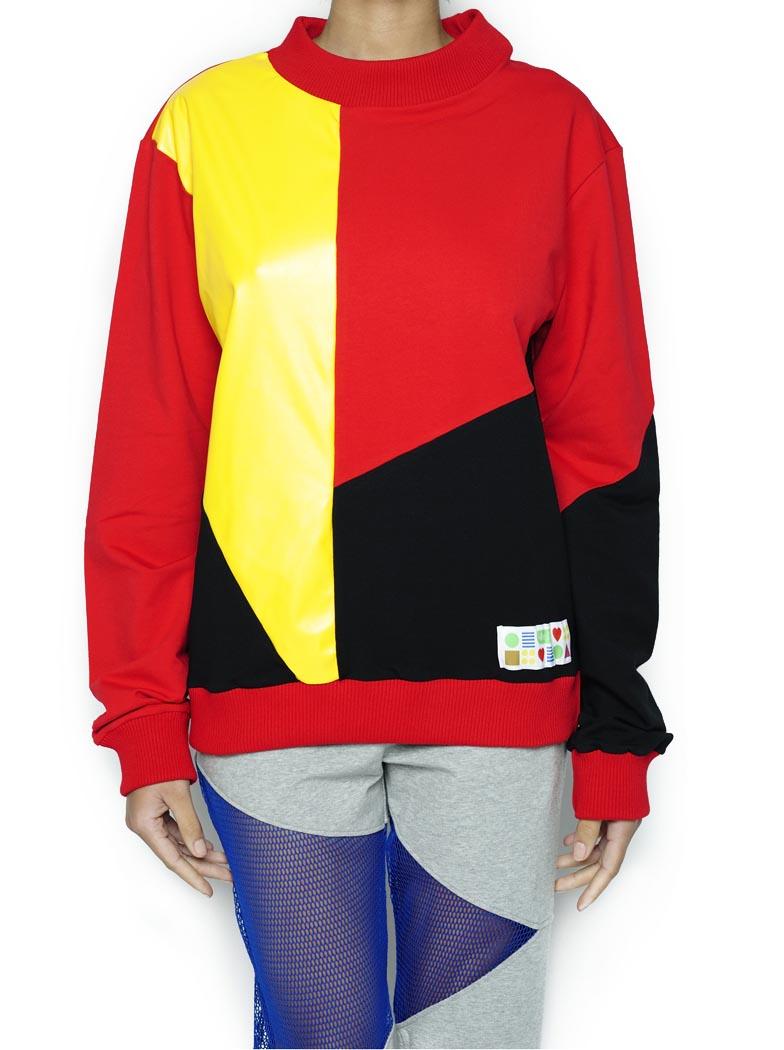 PullOver Vermelho/preto/amarelo (Crochê)